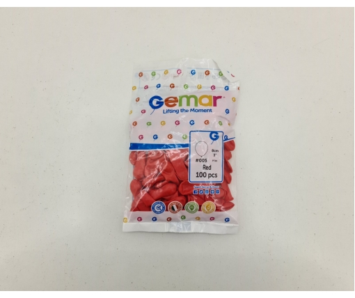 """Воздушные шарики пастель красные 3"""" (8 см) латексные бомбочки 100 шт Gemar (1 пач)"""