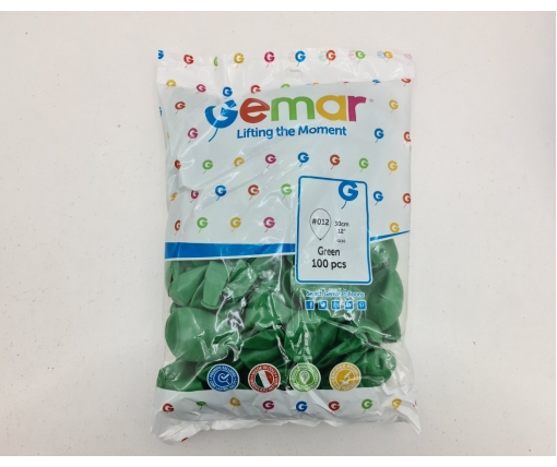 """Воздушные шарики пастель зеленые 12"""" (30 см) 100 шт Gemar (1 пач)"""
