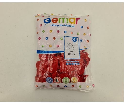"""Воздушные шары сердце 10"""" (25 см) красное пастель 100 шт (1 пачка)"""