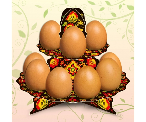 "Декоративная подставка для яиц №12 ""Хохлома"" (12 яиц) высокая (1 шт)"