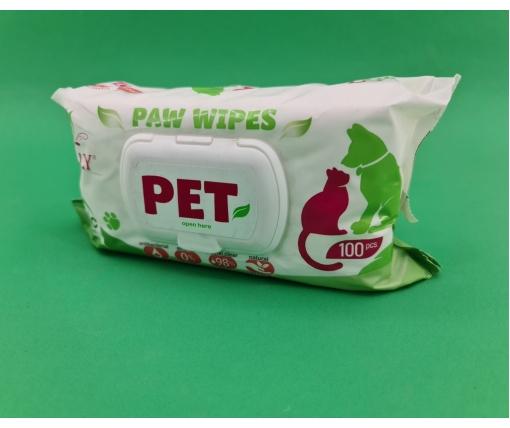 """ᐉ Влажные салфетки """"BIOLLY"""" для домашних животных с тальком 100 шт (1 пач)"""