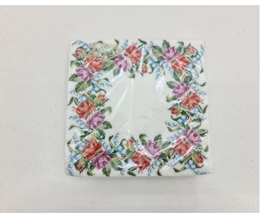 Красивая салфетка (ЗЗхЗЗ, 20шт)  La Fleur  Цветочный венок (1313) (1 пач)