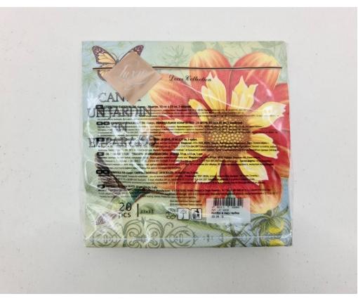 Дизайнерская салфетка (ЗЗхЗЗ, 20шт) Luxy  Колибри в саду гербер (2078) (1 пач)