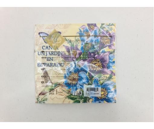 Дизайнерская салфетка (ЗЗхЗЗ, 20шт) Luxy  Колибри в саду колокольчиков (2059) (1 пач)
