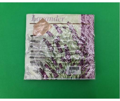 Дизайнерская салфетка (ЗЗхЗЗ, 20шт) Luxy  Куст лаванды (2092) (1 пач)