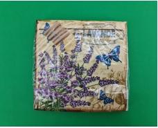 Салфетка декор (ЗЗхЗЗ, 20шт) Luxy  Бабочки в лаванде (2086) (1 пач)