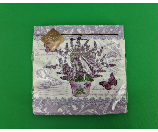 Дизайнерская салфетка (ЗЗхЗЗ, 20шт) Luxy  Пышный букет лаванды (2048) (1 пач)