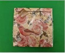 Салфетка декор (ЗЗхЗЗ, 20шт) Luxy  Розовая птица (2074) (1 пачка)