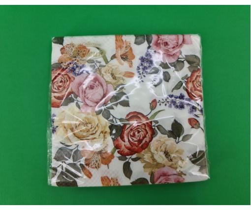 Красивая салфетка (ЗЗхЗЗ, 20шт)  La Fleur Дивные розы (1316) (1 пач)