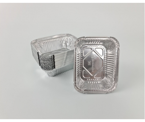 Контейнер из пищевой алюминиевой фольги прямоугольный 225мл SP15L 100шт в упаковки (1 пачка)