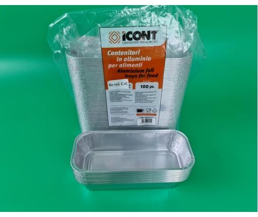 Контейнер из пищевой алюминиевой фольги прямоугольный 800мл R60G 100шт в упаковки (1 пачка)