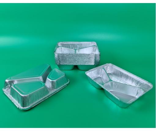 Контейнер из пищевой алюминиевой фольги прямоугольный трехсекционный  190/280/360мл M3L 100шт в упаковки (1 пачка)