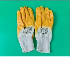"""Хозяйственные перчатки рабочие нитрил жёлтый №8 """"Intertool"""" (12 пар)"""