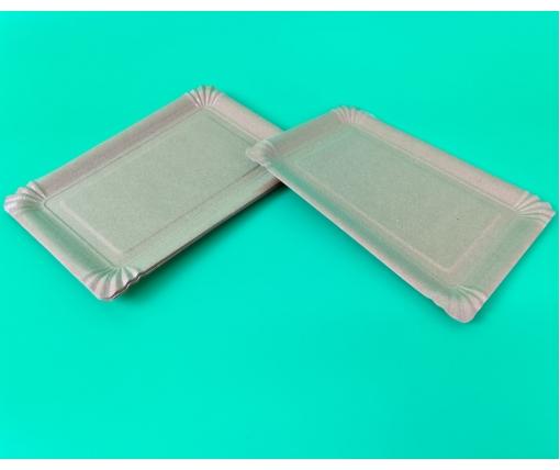 Бумажная тарелка с рисунком 100шт 15*22см  Крафт (1 пачка)