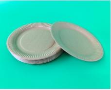 Бумажная тарелка с рисунком 100шт 23см Крафт (1 пачка)