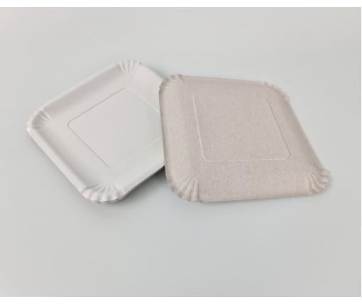 Бумажная тарелка с рисунком 100шт 21*21см Белая (1 пачка)