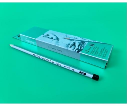 Карандаш простой набор 12шт тм. Марко №7000-3B raffine (1 пачка)