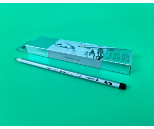 Карандаш простой набор 12шт тм. Марко №7000-2B raffine (1 пачка)