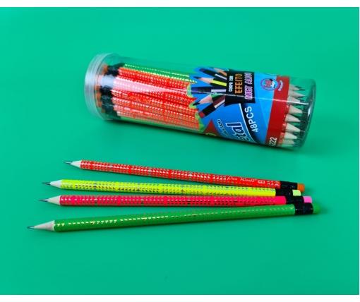 Карандаш  графитный с ластиком  HB №HW-018+031(неон. треугольн, корп., в банке) (1 шт)